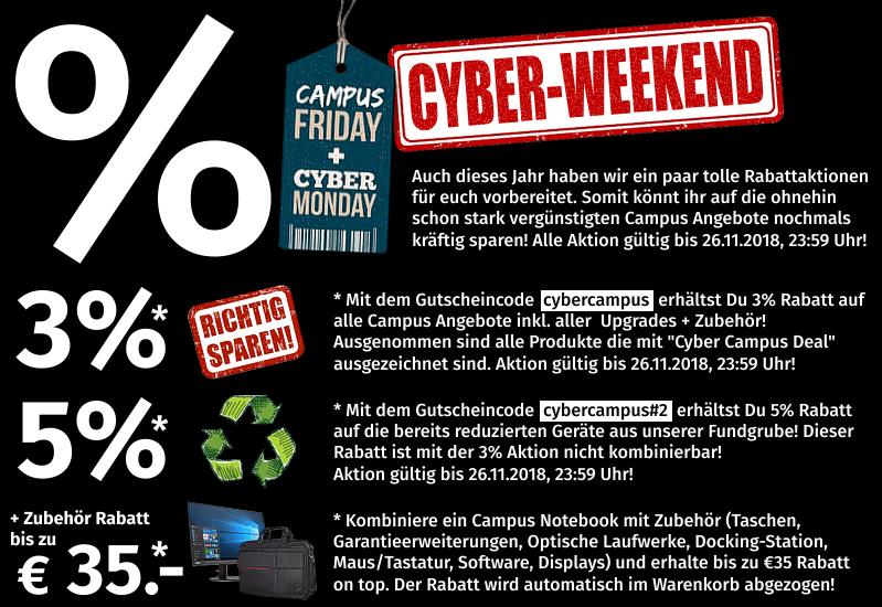 Cyber-Weekend Campuspoint | 3% auf alle Campus Angebote | 5% auf Fundgrube