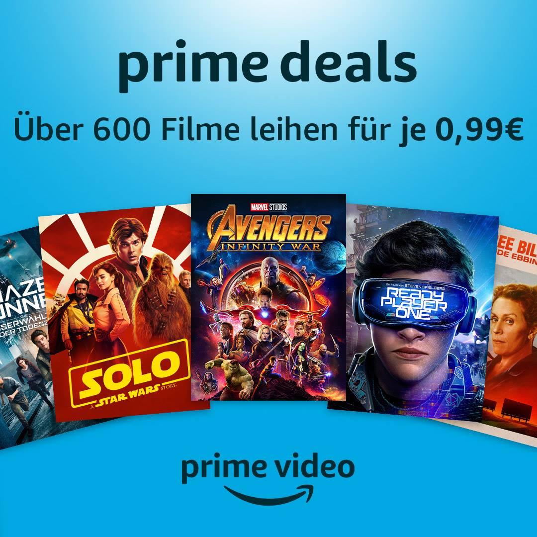 Prime Video: 600 Filme für je 0,99€ leihen (Prime Mitglieder), z. B. Ready Player One, Infinity War,...