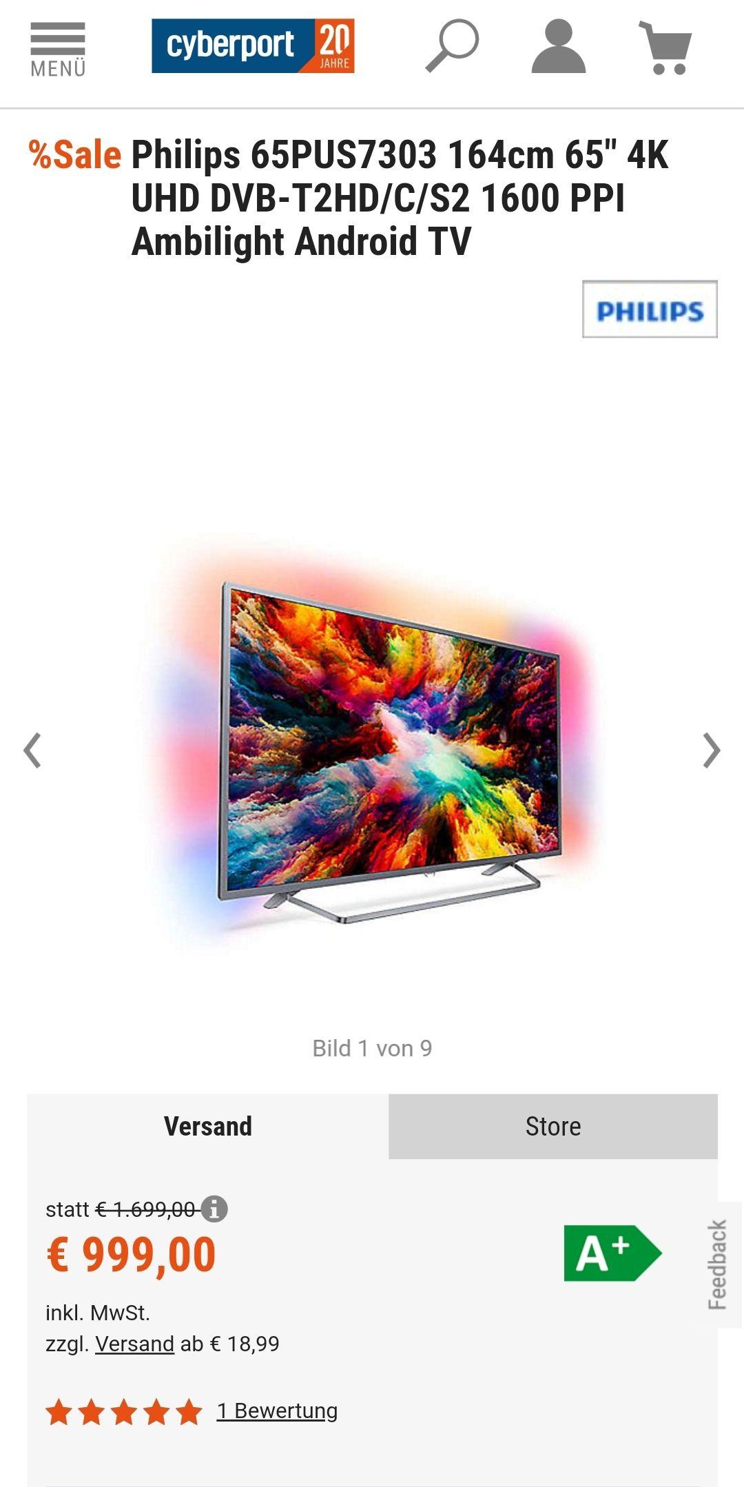 Philips 65PUS7303 65 Zoll Fernseher Ambilight