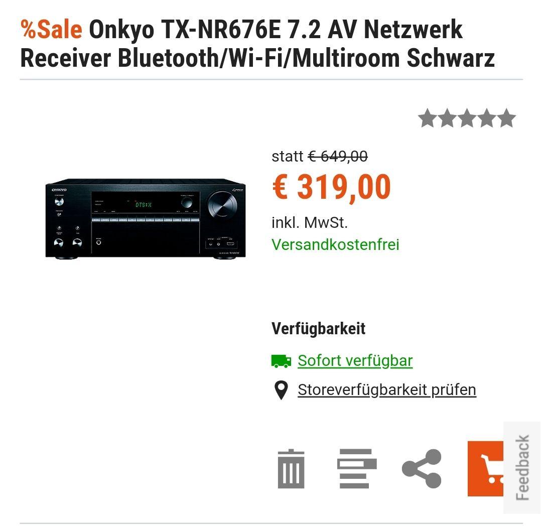 Onkyo TX-NR676E Netzwerk Receiver 7.2 Schwarz