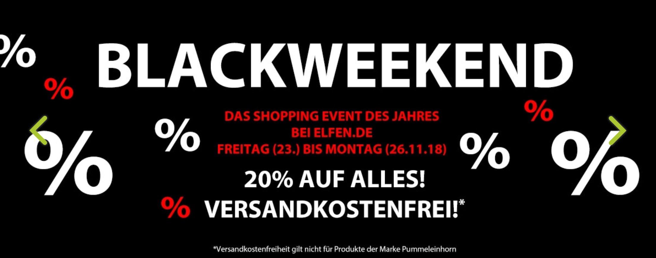 Blackfriday / Blackweekend bei Elfen.de, 20% + VSKfrei