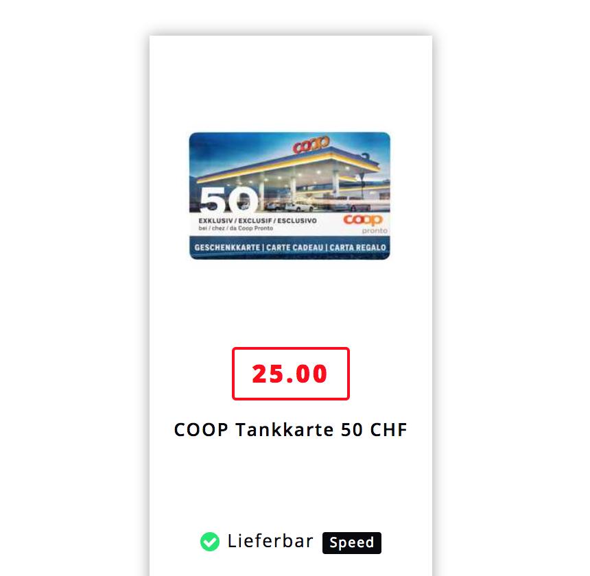 [Schweiz] 50 CHF Tankkarte für 25 CHF für Coop Pronto Tankstellen bei Microspot