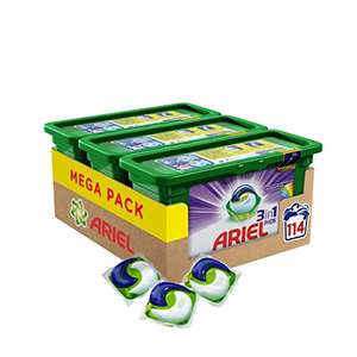 Ariel 3in1 Pods Waschmittel, Mega Pack (3 x 38 Waschladungen)