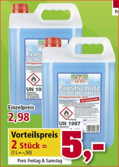 10 Liter Frostschutz-Scheibenklar, gebrauchsfertig bis -20 Grad für 5 Euro [Thomas Philipps]