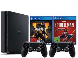PlayStation 4 1TB Slim + 2.Controller + Spider-Man + Fifa19 od. CoD BO4 [Gamestop]