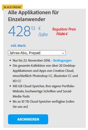 Alle Applikationen für Einzelanwender bei Adobe