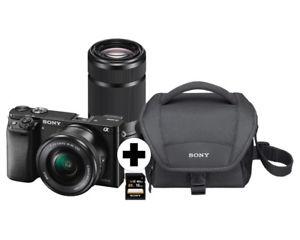 Sony Alpha 6000 Systemkamera inkl. SEL-P1650 und SEL-55210 Tasche + Karte, Ebay MM