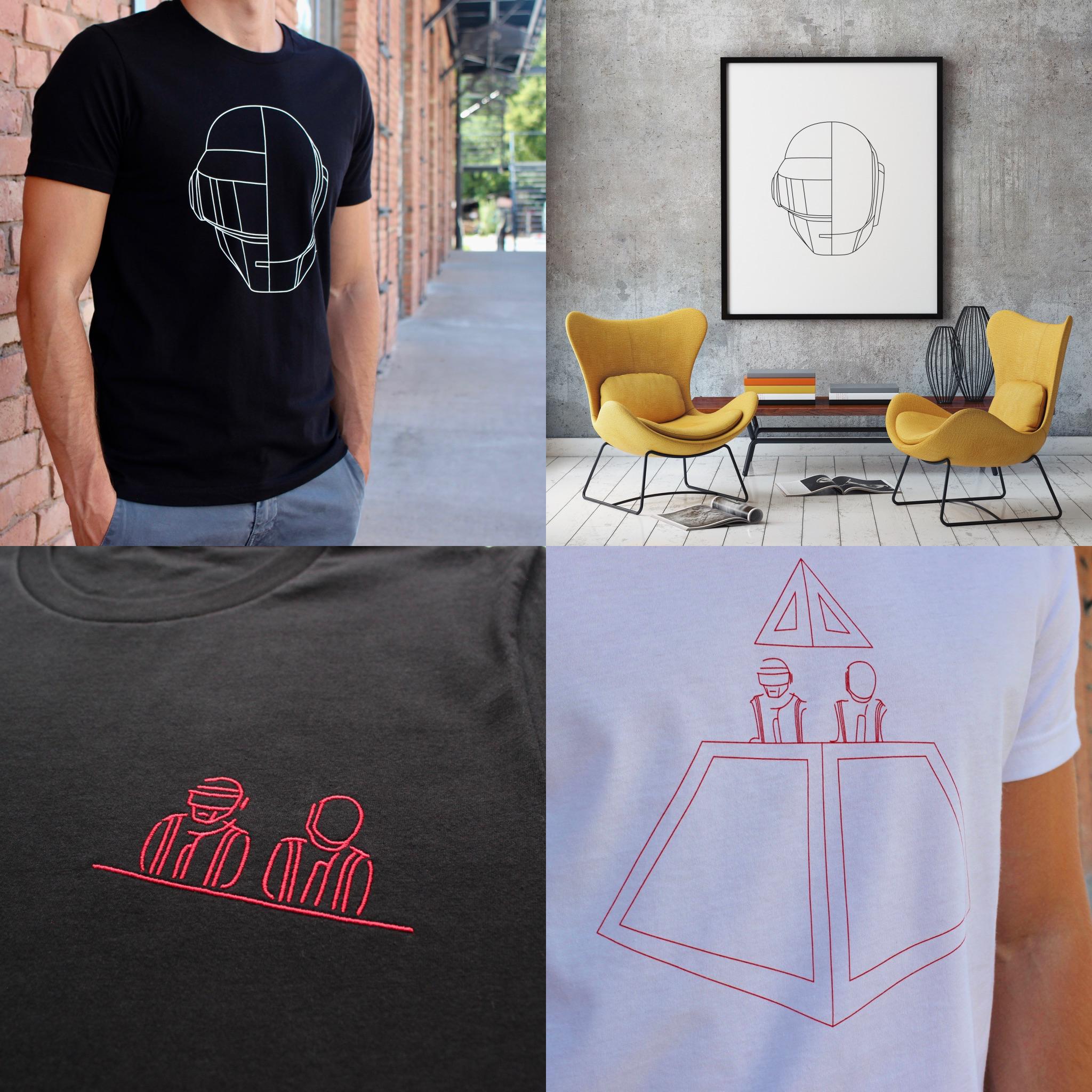 Bei Daftprints 20% auf alles - Daft Punk inspirierte Plataken un Kleidung.