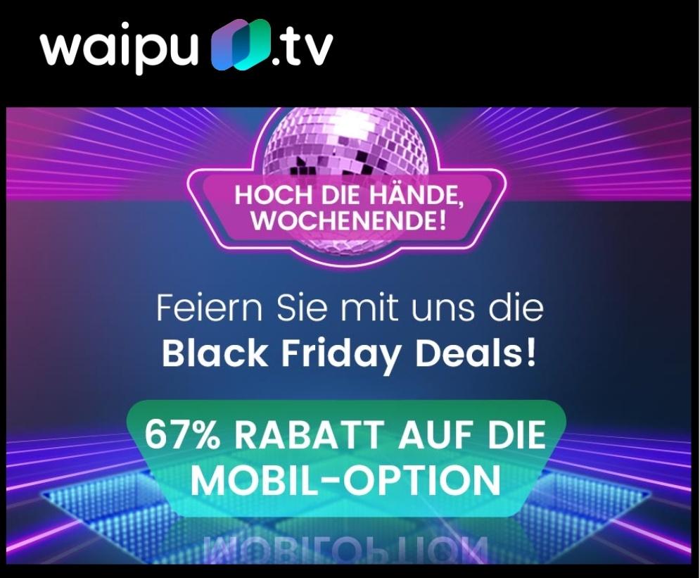 Waipu TV Mobil-Option 67% günstiger