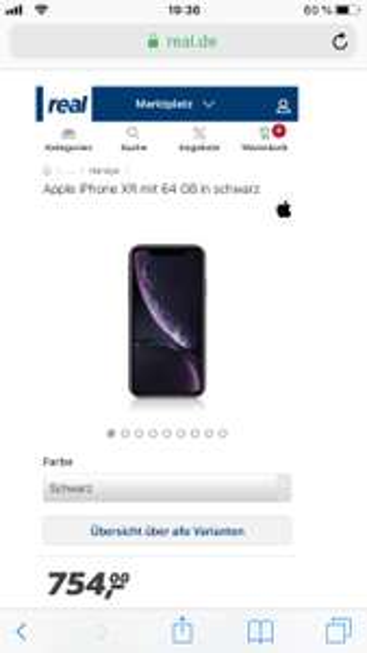 Apple iPhone XR - 64GB  OVP für 754€ inkl. Versandkosten (612€ mit Payback und NL) 128GB ab 654€