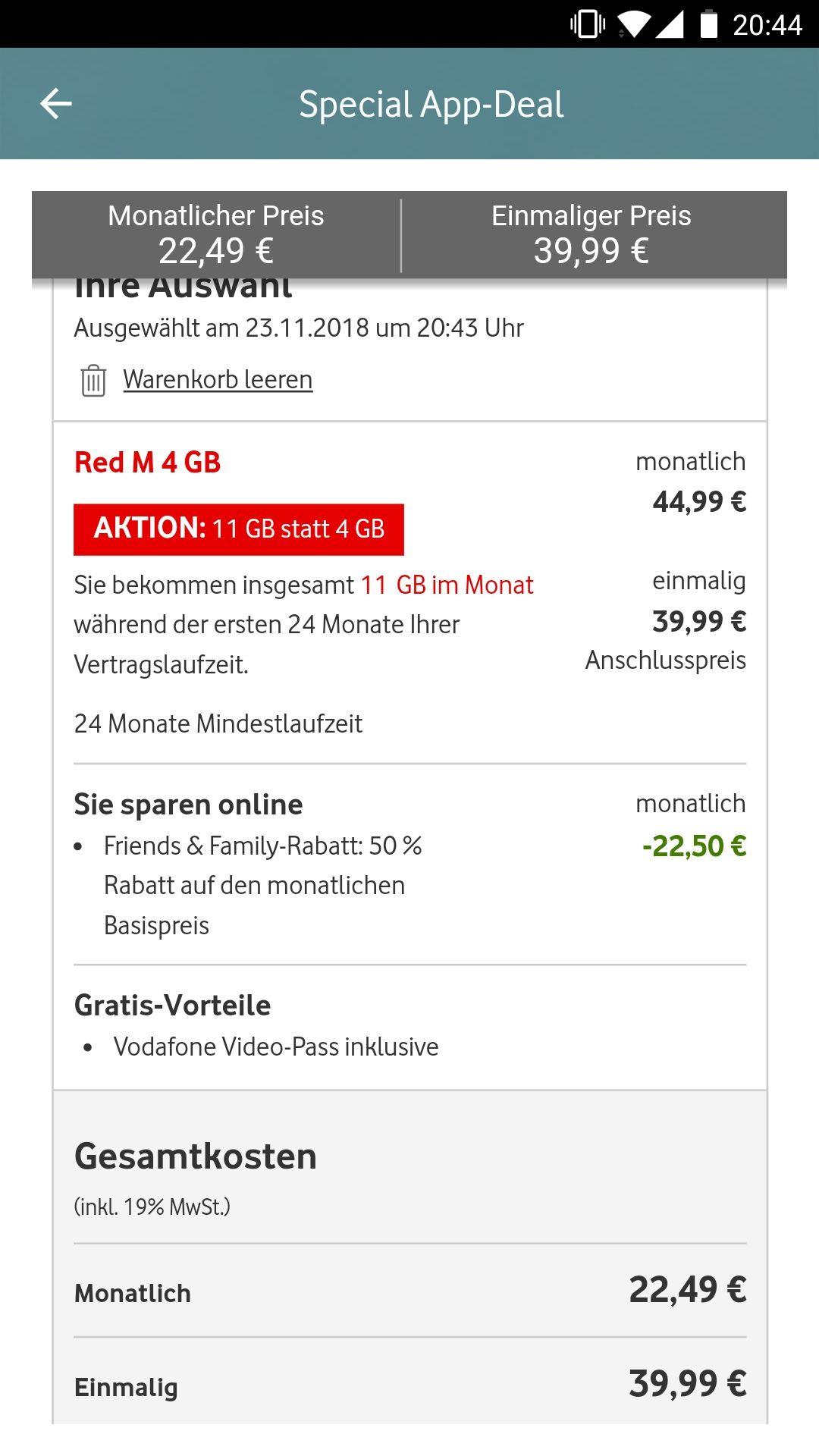 Vodafone App - 11GB LTE mit Vodafone Pass, Allnetflat & SMS eff. 24, 15€ monatlich