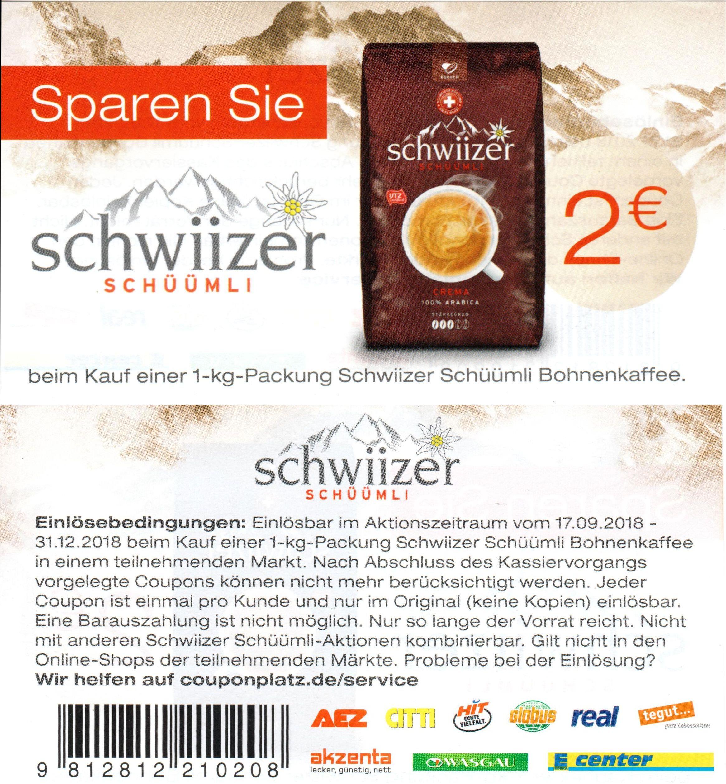 2€ Sofort-Rabatt-Coupon für Schwiizer Schüümli 1kg Bohnenkaffee bis 31.12.2018