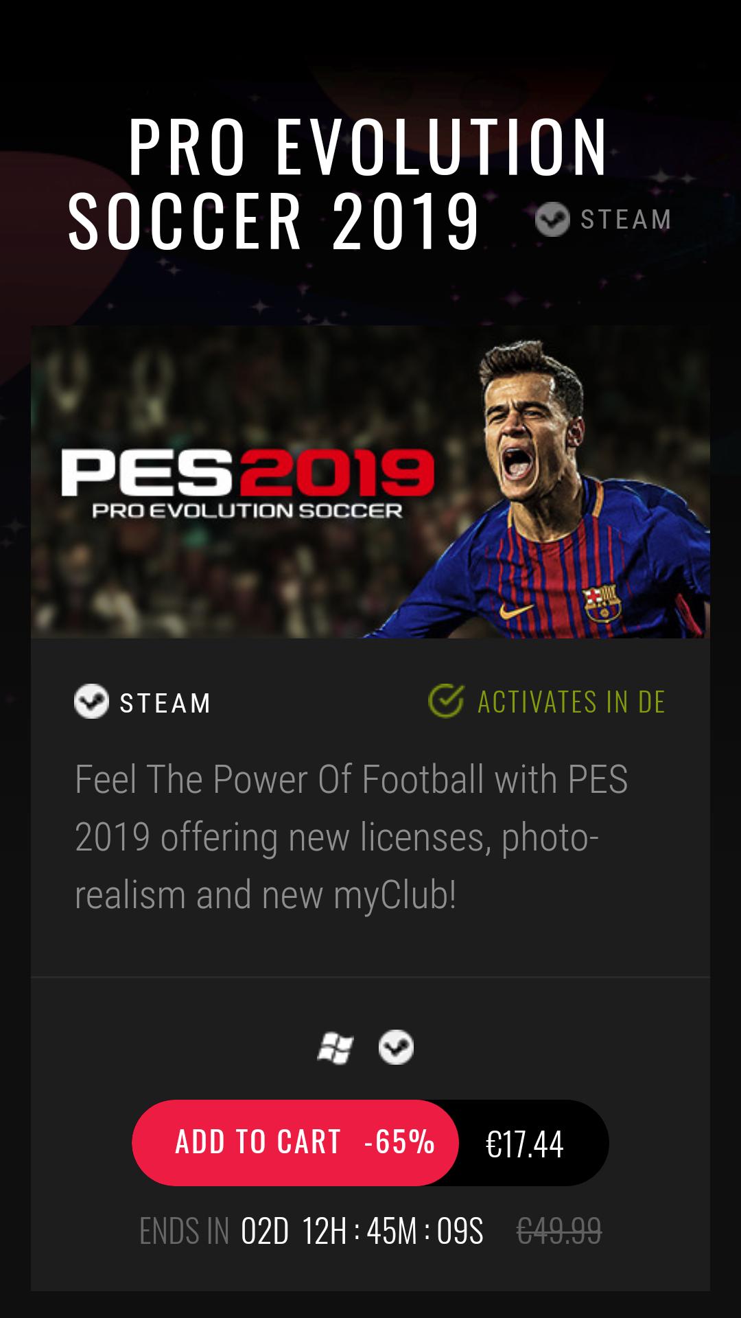 Pro Evolution Soccer 2019 Standard Edition Steam Key