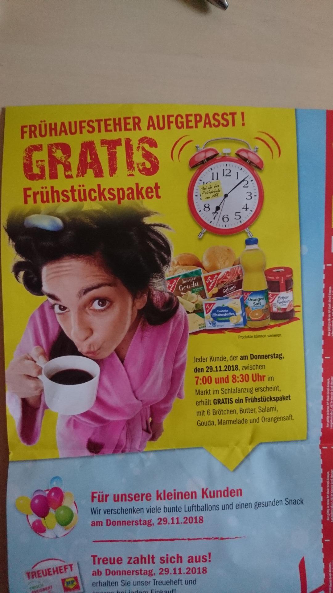 [lokal Groß Hesepe] gratis Frühstückspaket beim NP im Schlafanzug