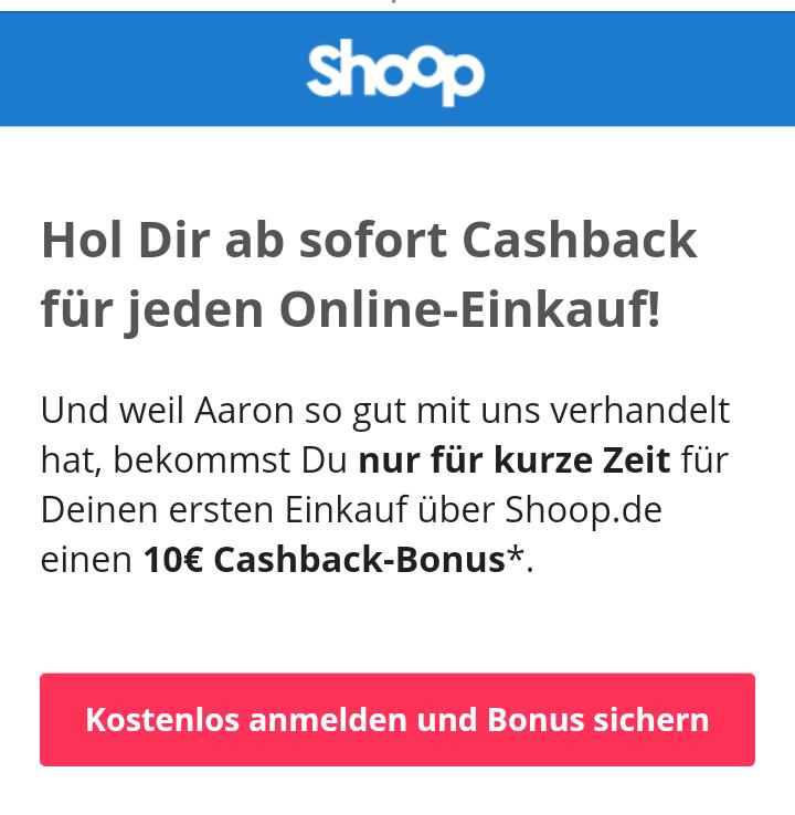 Shoop 10€ Cashback für Neukunden