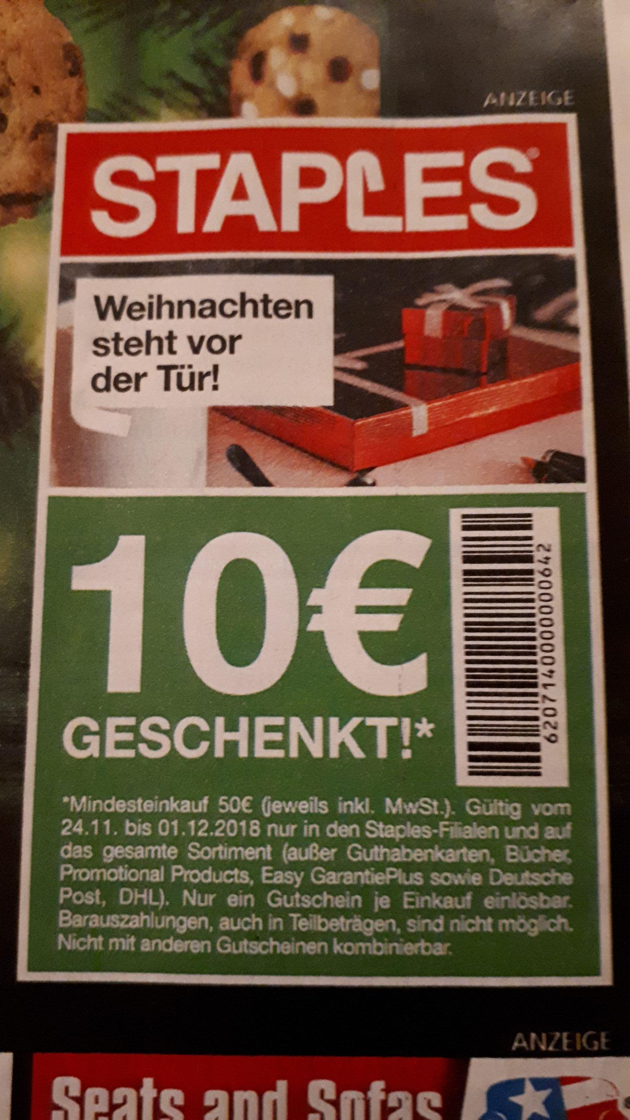 [Offline] Staples 10€ geschenkt (MBW 50€)
