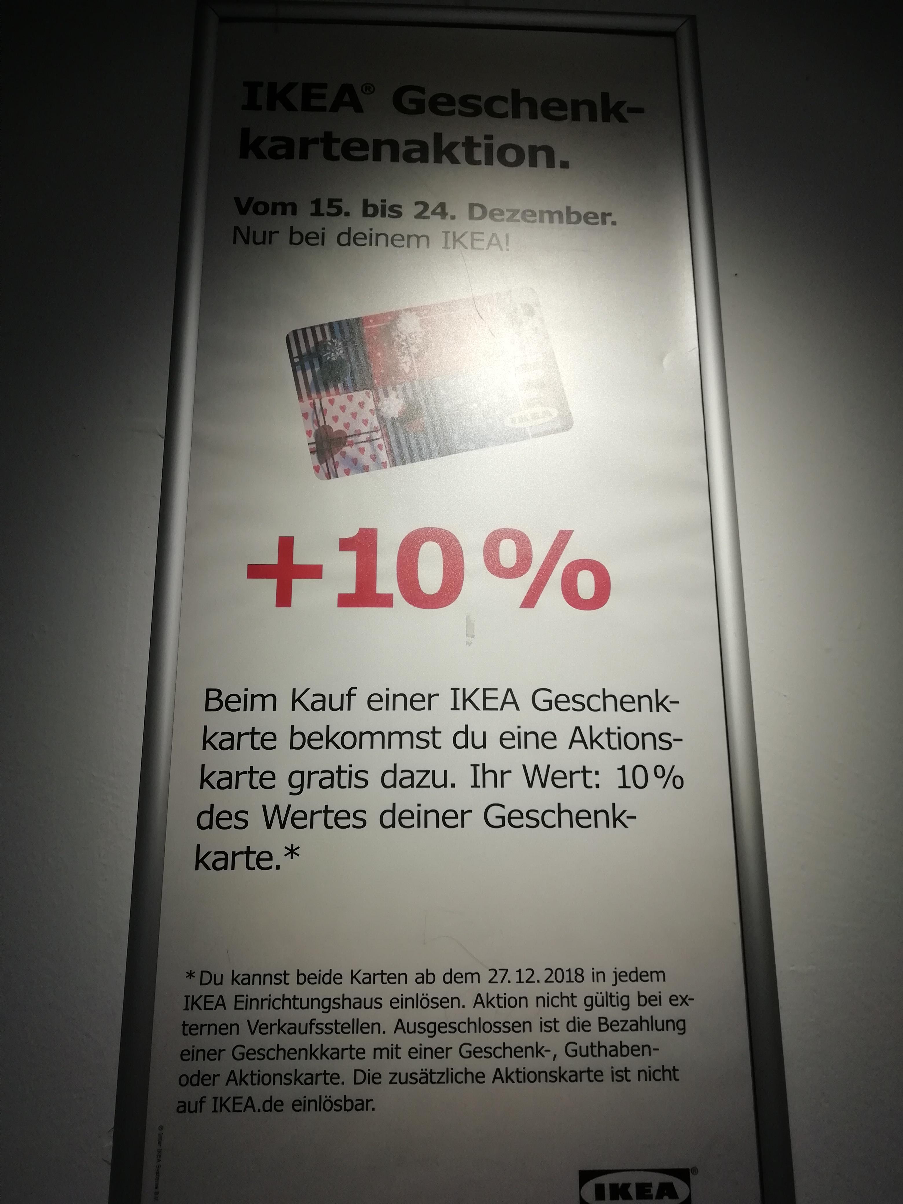 [ab 15.12.] IKEA Geschenkkarten-Aktion + 10% vom Wert als Aktionskarte