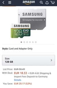 Micro SD Card 128 GB Samsung Evo select