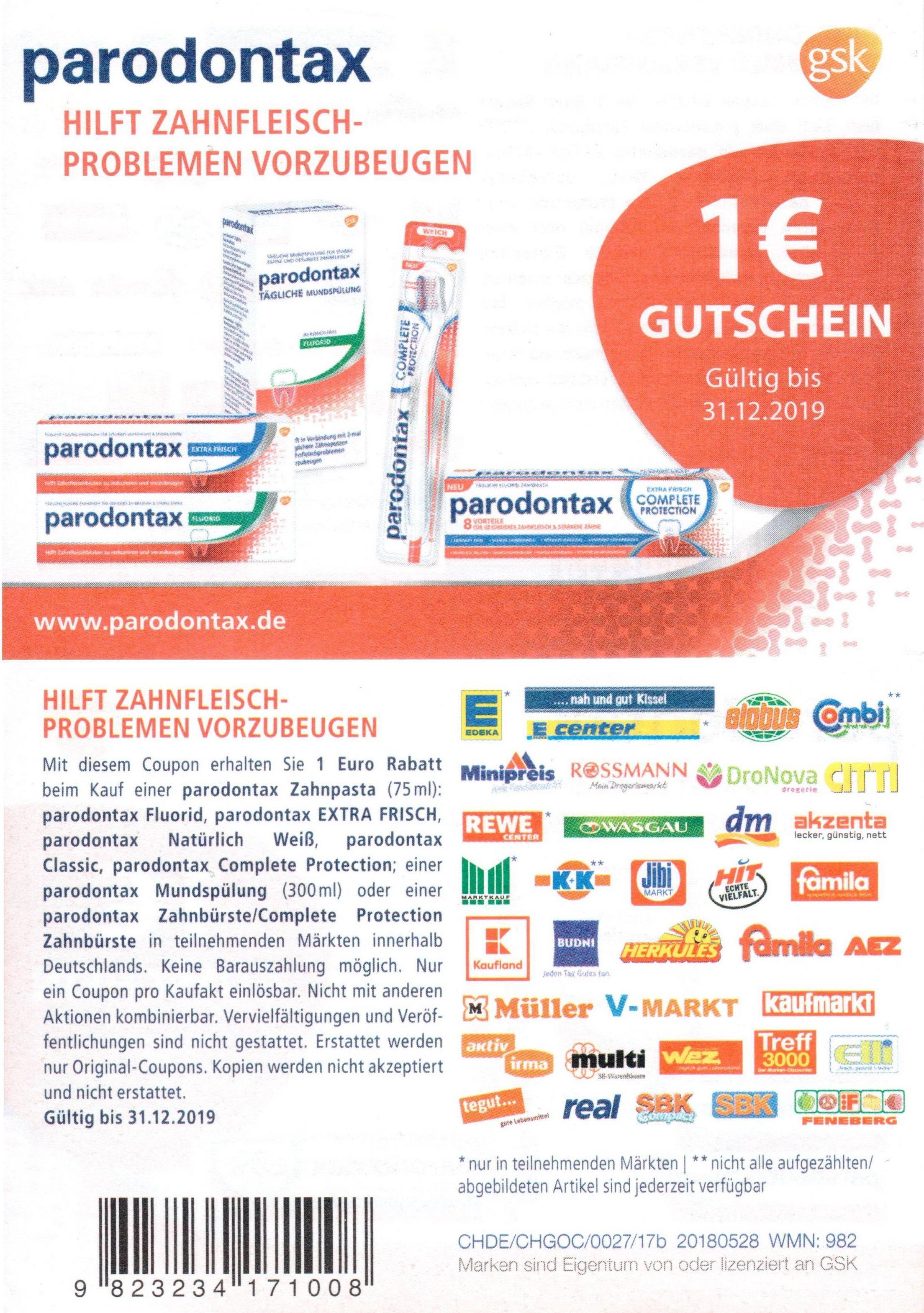 1€ Rabatt-Coupon für 1x Parodontax Zahncreme oder Mundspülung bis 31.12.2019