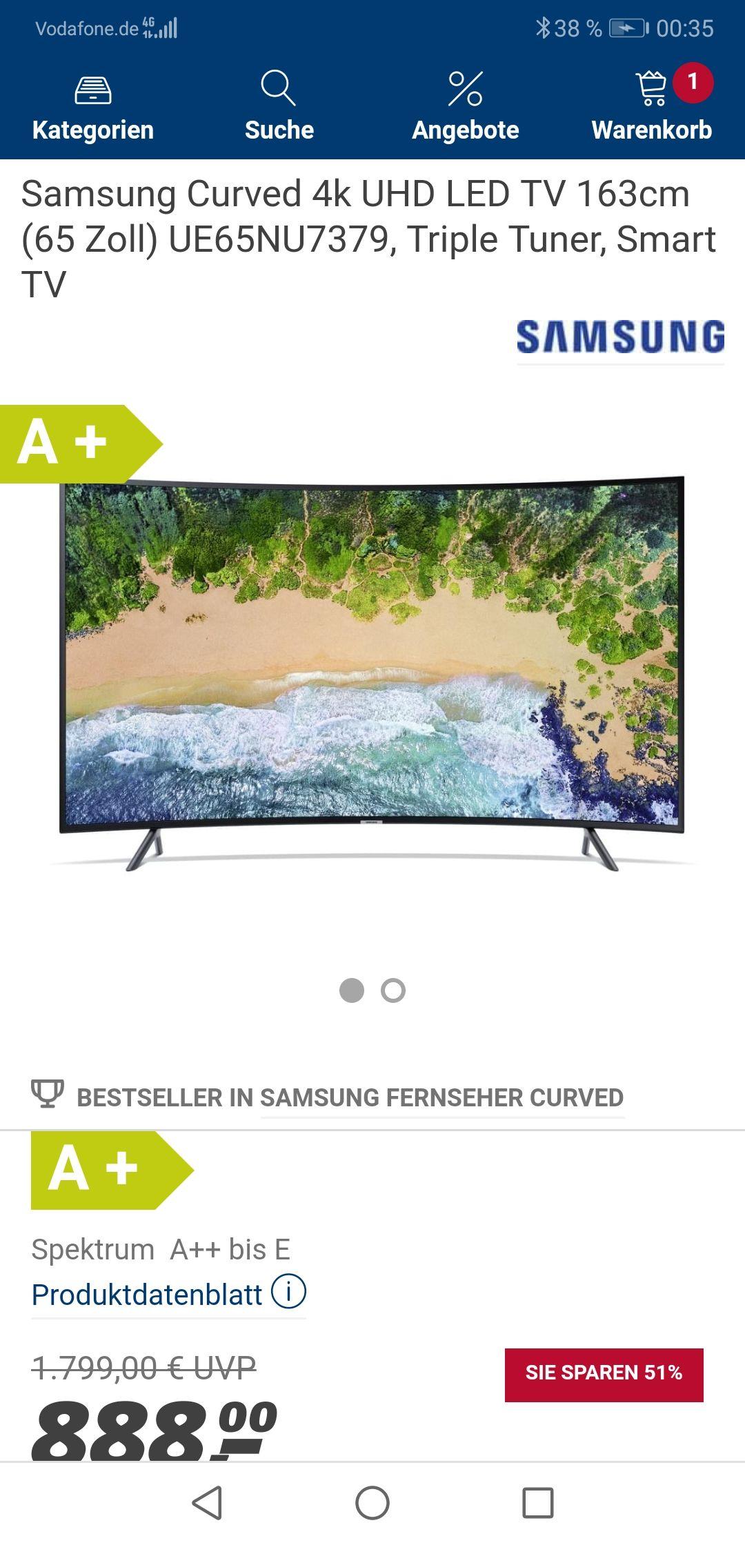 Samsung 65 zoll curved TV  ue65nu7379 bei real/ Versandkosten frei pvg bei idealo 929,99€