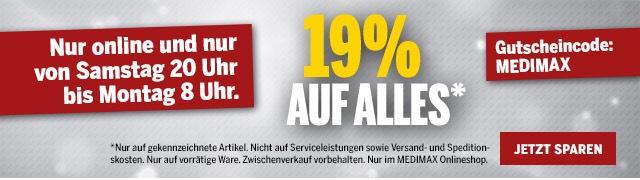 19% auf Alles (begrenztes & leicht überteuertes Sortiment) im MEDIMAX Onlineshop
