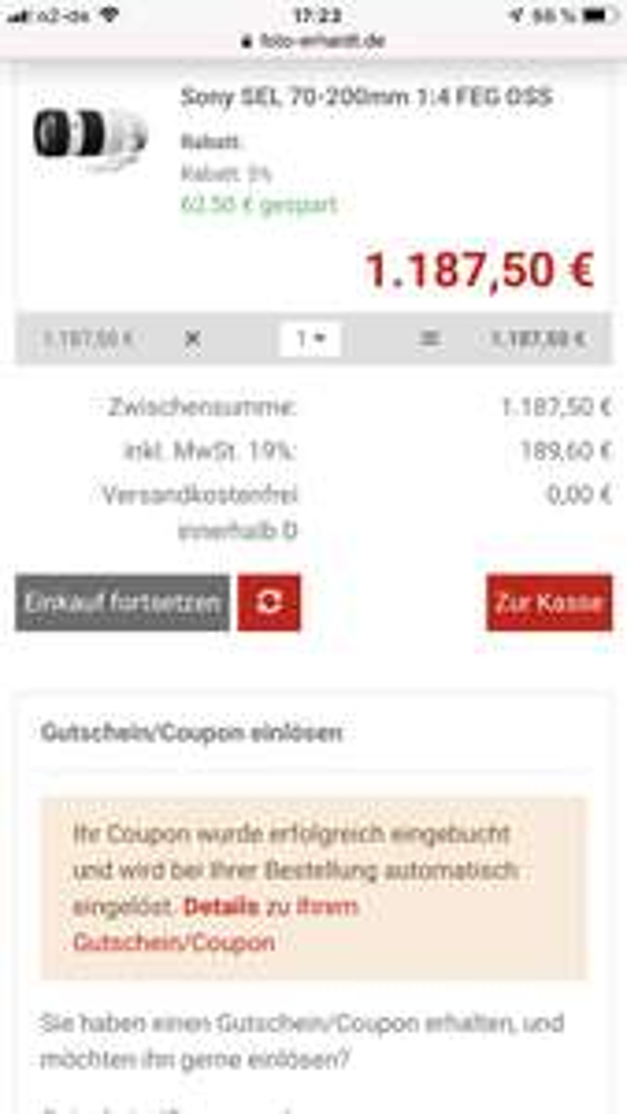 Sony FE 70-200 f4 Für 1087,50€