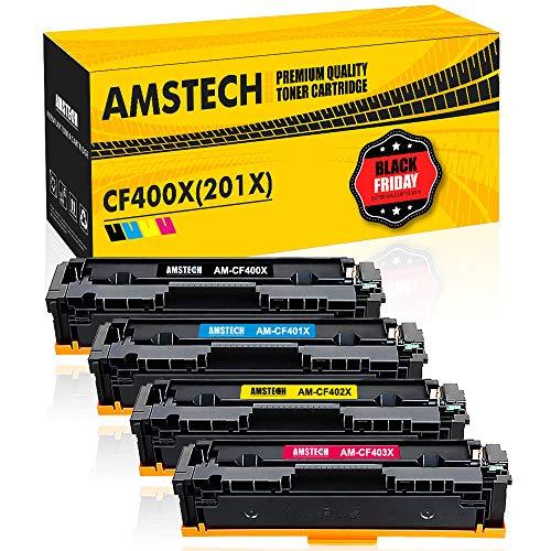 Amstech 4 Pack 201X 201A Toner für HP Color Laserjet Pro MFP M277dw M277n M274n M252dw M252n