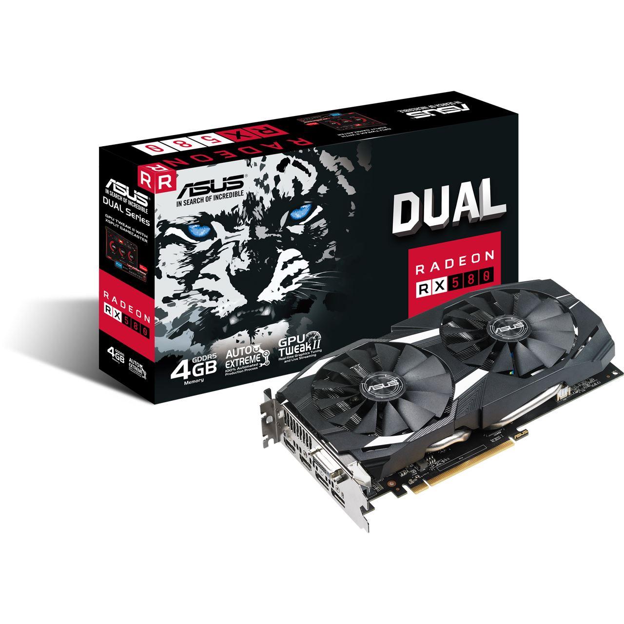 4GB ASUS Radeon RX580 Dual DVI, HDMI, DP, Aktiv (Retail)  Artikelnummer 8839029 bei Mindfactory
