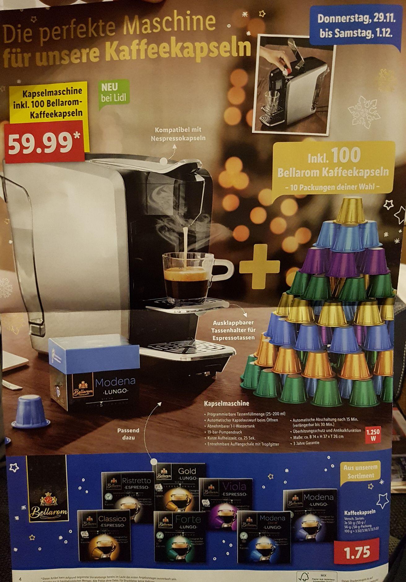 [LiDL lokal] Kapselmaschine + 100 Bellarom Kaffekapseln