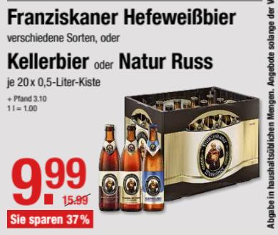 V-Markt (regional)  Franziskaner Hefeweißbier, Kellerbier oder natur Russ