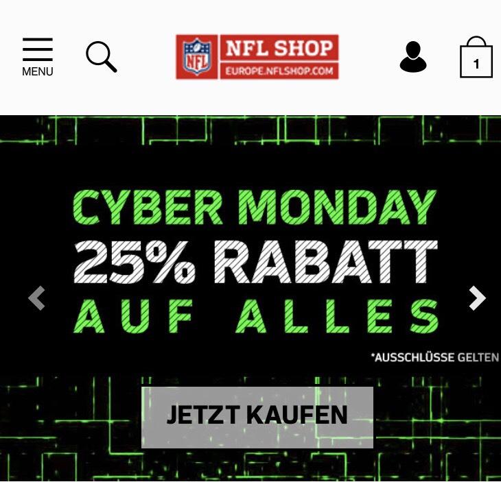 NFL-Shop Europe 25% auf alles.