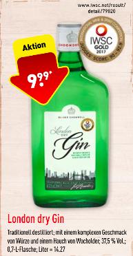 Prämierter Dry Gin Oliver Cromwell (lokal, Aldi Nord)