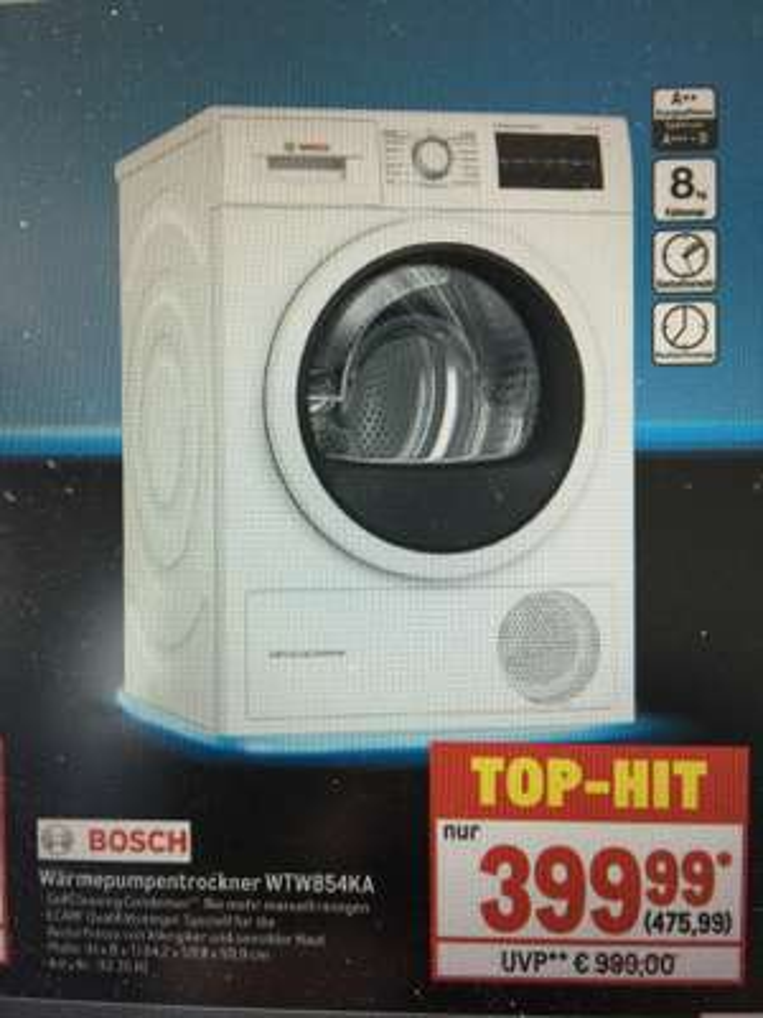 Bosch Wärmepumpentrockner WTW854KA A++ 8kg (Metro)