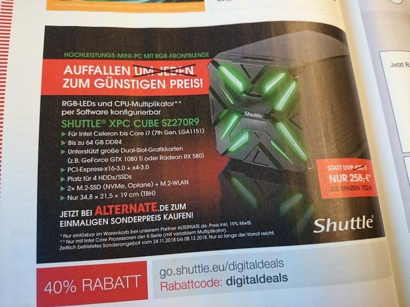 27% auf nen Mini PC Gaming-Cube mit RGB-Front von Shuttle