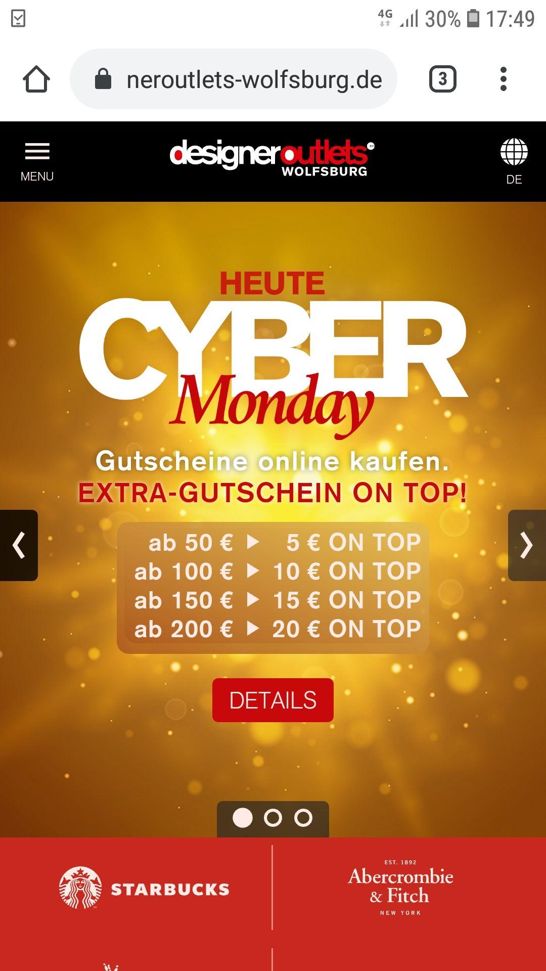 Designeroutlet  Wolfsburg 10% Extra bei Kauf eines Gutscheins ab 50 Euro