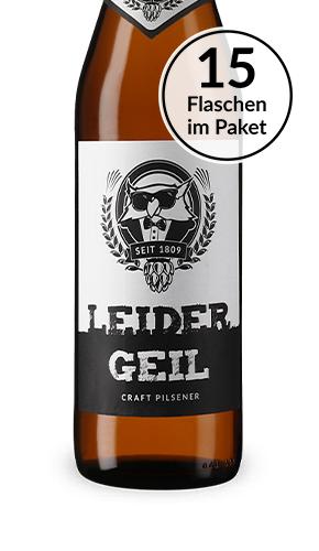 """45 Flaschen """"Leider Geil"""" Craft Pils der Kauzen Brauerei in Unterfranken, MHD 19.01.2019, abzgl. 3,60 € Pfand"""