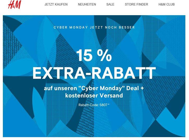 [H&M] 15% Extra-Rabatt auf die Cyber-Monday Angebote + Kostenloser Versand