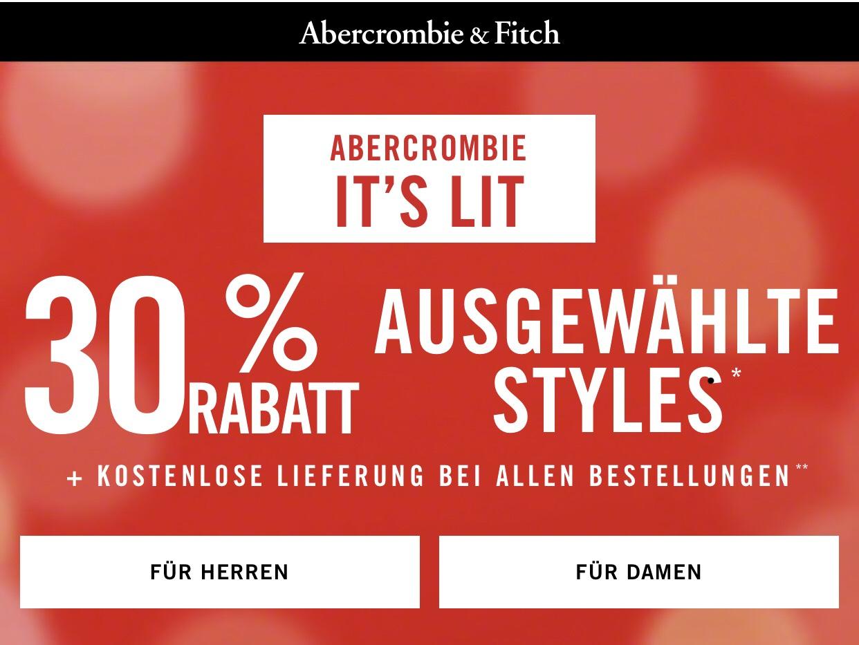 Abercrombie and Fitch -30% auf alles als Club Mitglied + kostenloser Versand | -15% auf alle Kids Sachen | -30% auf ausgewählte Kids Sachen