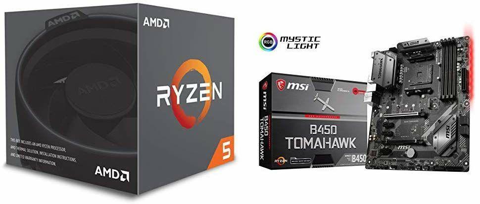 AMD Ryzen 5 2600X Prozessor + MSI B450 Tomahawk Mainboard (Amazon.fr)