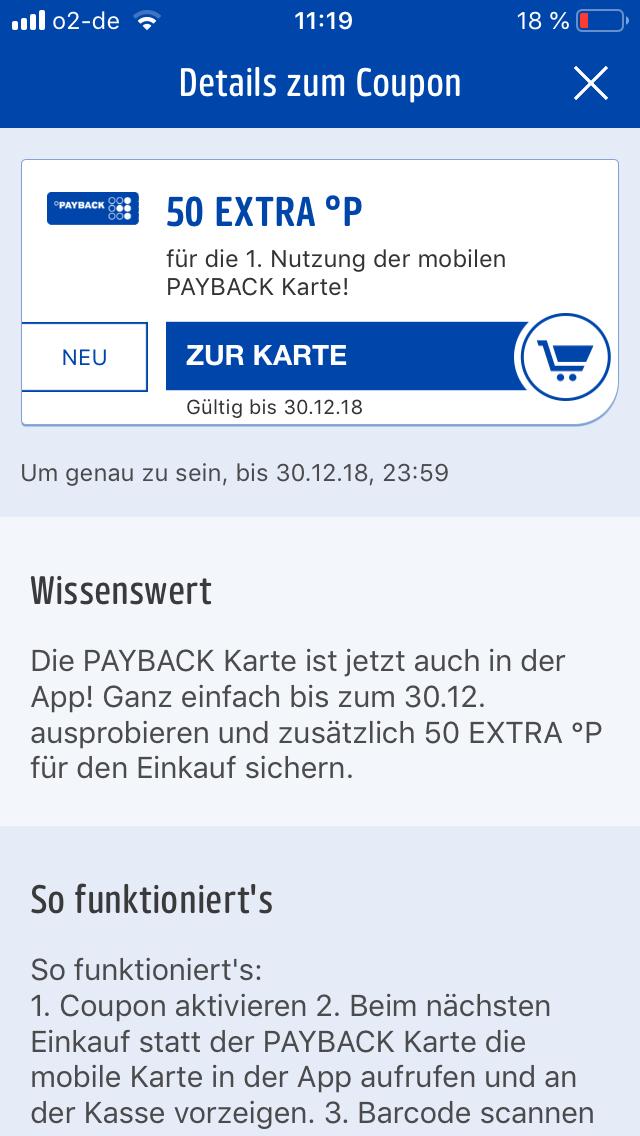 [Payback] 50 Punkte für die erste Nutzung der mobilen Payback Karte