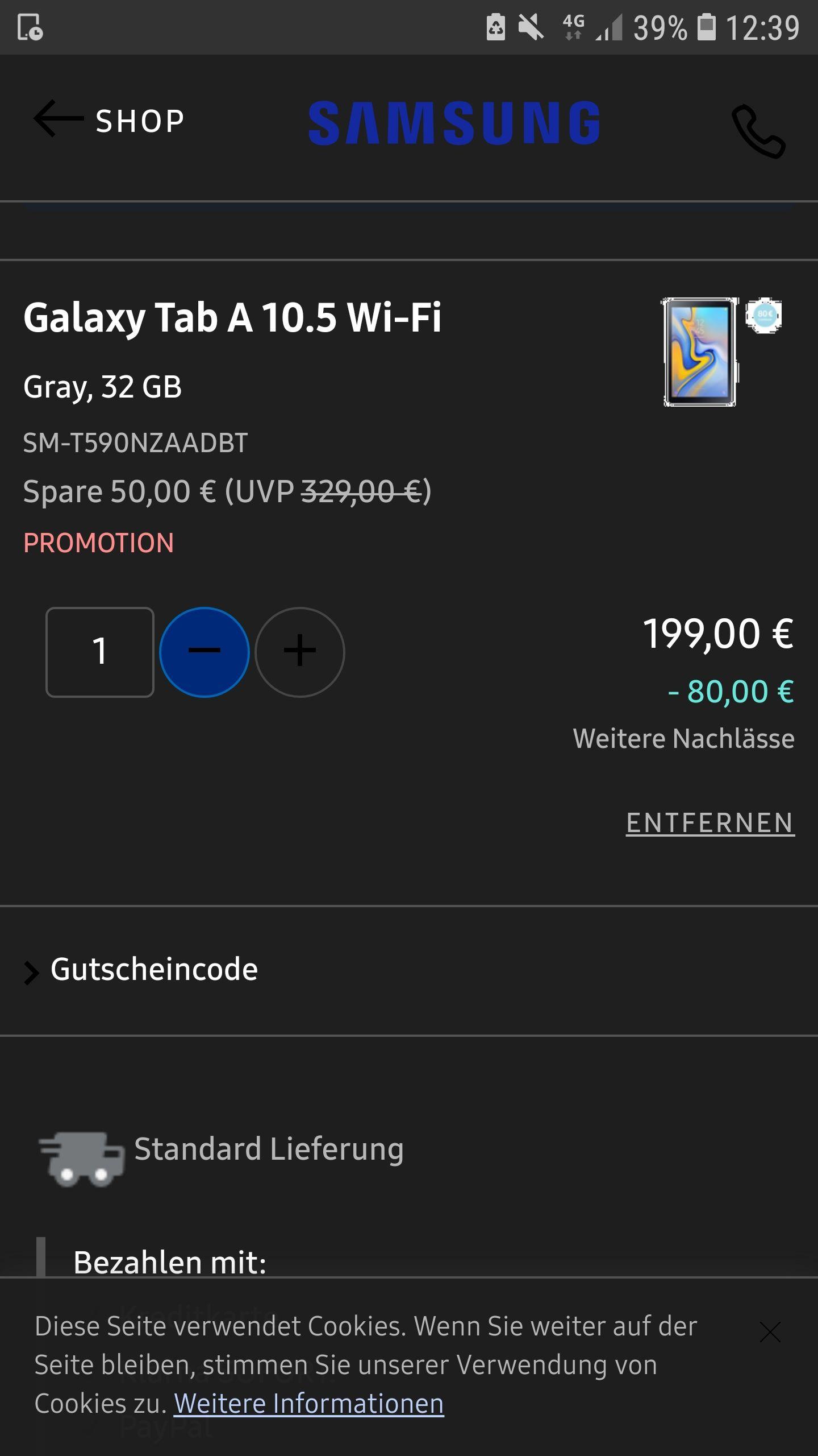 Samsung SM-T590 Galaxy Tab A 10.5 Wi-Fi Tablet-PC (Snapdragon 450, 3GB RAM, Android 8.1) Grau