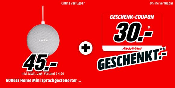 [MediaMarkt] GOOGLE Home Mini +30€ MM Geschenk-Coupon | alle 3 Farben für je 45€