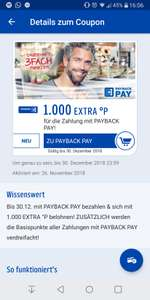 1000 Payback-Punkte bei erster Zahlung mit Payback Pay