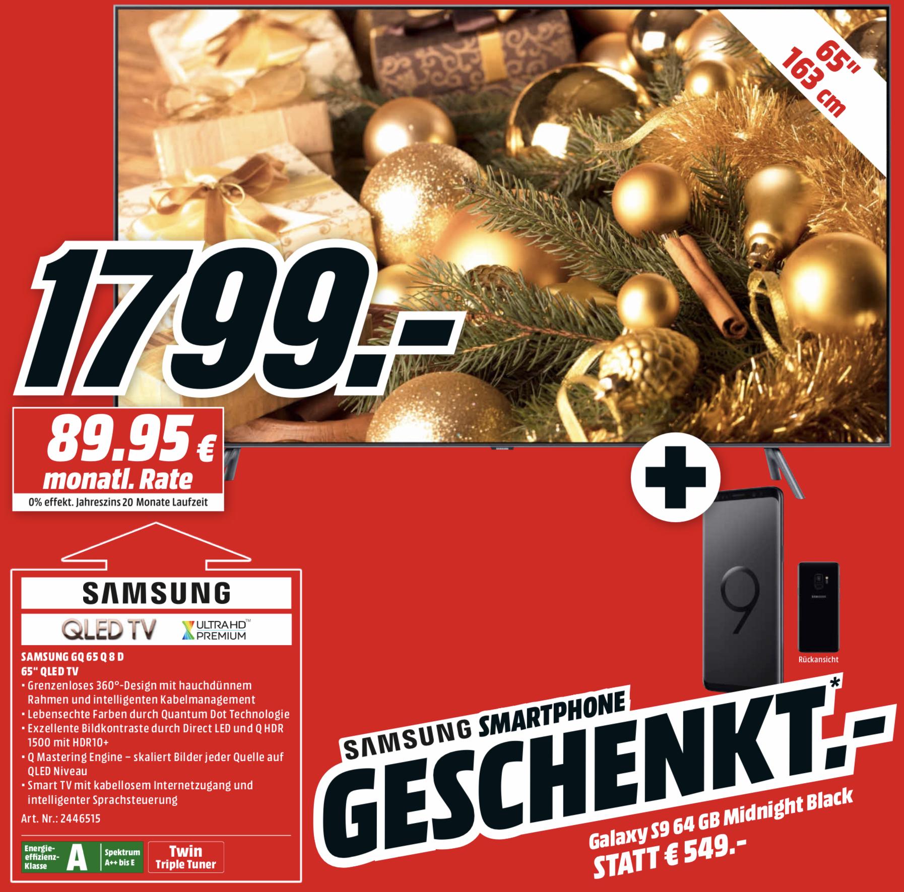 Samsung GQ65Q8D QLED TV + Samsung Galaxy S9 Smartphone geschenkt für 1799€ + 10-fach Payback [MediaMarkt] bei Marktabholung