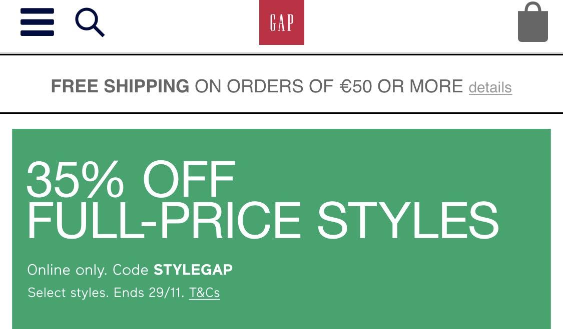 GAP - 35% auf nicht reduzierte Ware