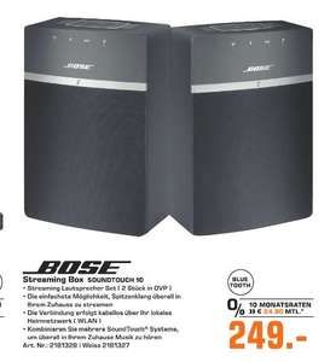 [Regional Saturn Wesel] Bose SoundTouch 10 / Doppelpack schwarz für 249,-€