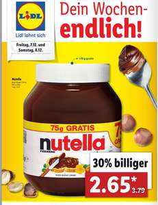 [Lidl nur am 7. & 8.12] Nutella 825g