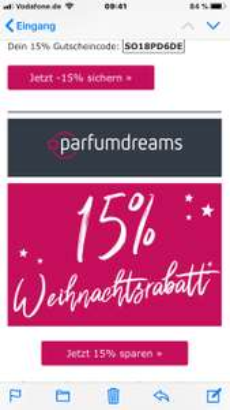 15%Weihnachtsrabatt bei Parfumdreams kein MBW auf das gesamte Sortiment