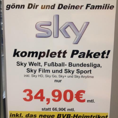 Sky komplett Abo 34,90 ( BVB Trikot gratis )
