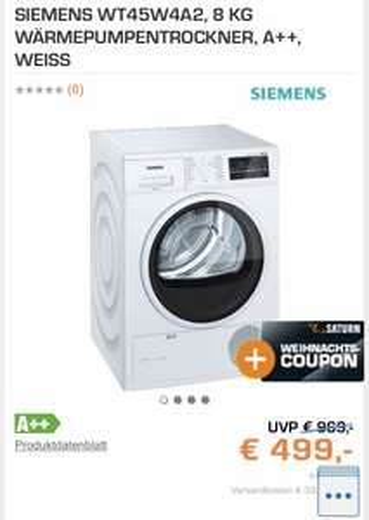 Siemens WT45W4A2 Wärmepumpentrockner (8kg, A++) für 499€ inkl. 60€ Coupon